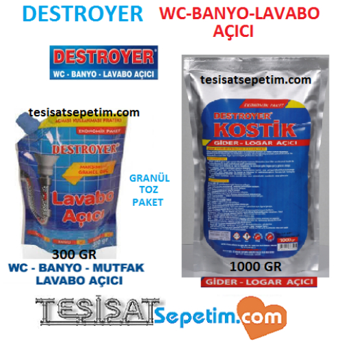 DESTROYER KOSTİK GİDER  AÇICI  300 Gr LAVABO  WC MUTFAK AÇICI  DESTROYER 300 KR0